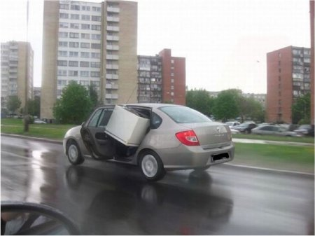 перевозка бытового холодильника в автомобиле
