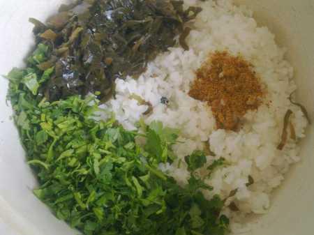 смешивание с рисом