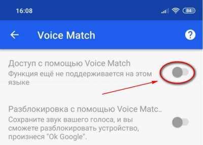 Доступ Voice Match