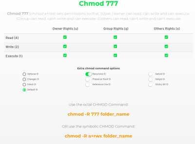 онлайн сервис CHMOD